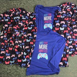 NWT TWINS 12 14 gaming robe pajamas 3pc pants top